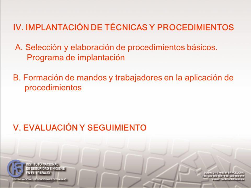 IV. IMPLANTACIÓN DE TÉCNICAS Y PROCEDIMIENTOS A. Selección y elaboración de procedimientos básicos. Programa de implantación B. Formación de mandos y