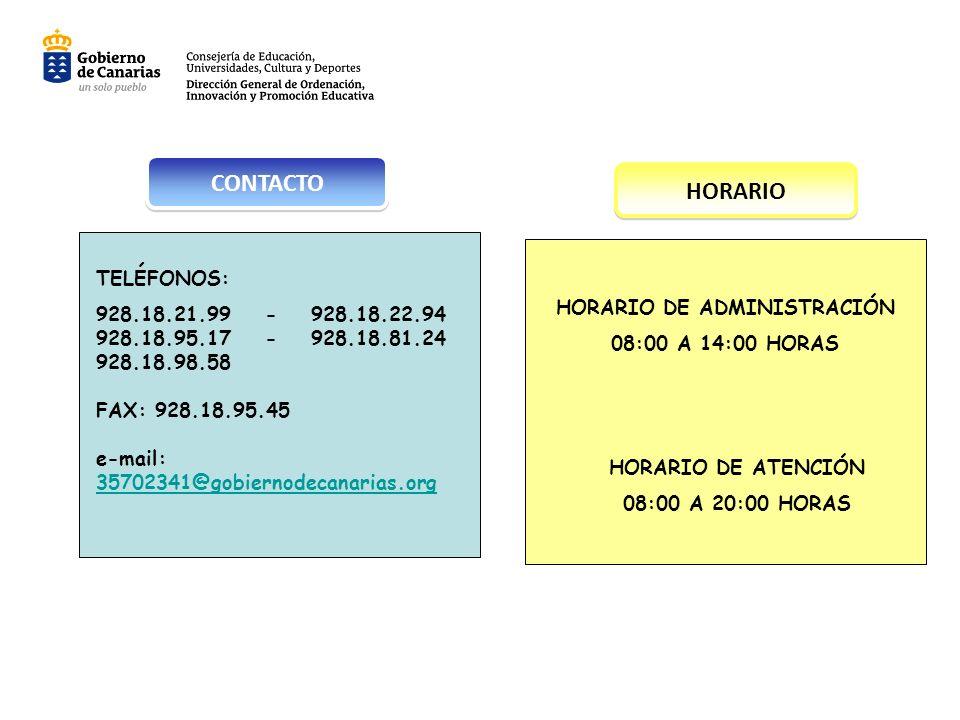 HORARIO DE ADMINISTRACIÓN 08:00 A 14:00 HORAS HORARIO DE ATENCIÓN 08:00 A 20:00 HORAS TELÉFONOS: 928.18.21.99 - 928.18.22.94 928.18.95.17 - 928.18.81.