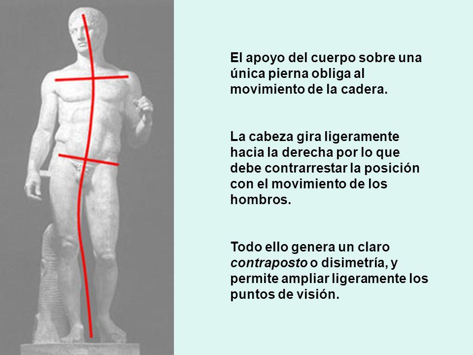El apoyo del cuerpo sobre una única pierna obliga al movimiento de la cadera. La cabeza gira ligeramente hacia la derecha por lo que debe contrarresta