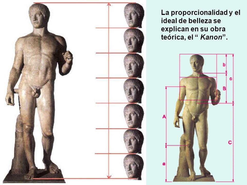 La proporcionalidad y el ideal de belleza se explican en su obra teórica, el Kanon.