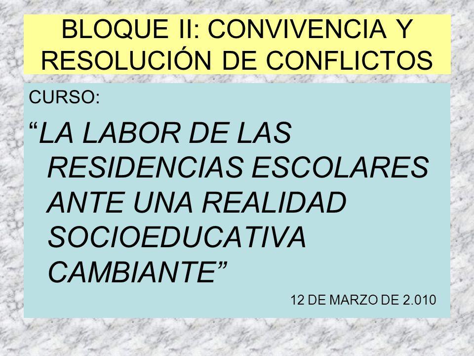 BLOQUE II: CONVIVENCIA Y RESOLUCIÓN DE CONFLICTOS CURSO: LA LABOR DE LAS RESIDENCIAS ESCOLARES ANTE UNA REALIDAD SOCIOEDUCATIVA CAMBIANTE 12 DE MARZO