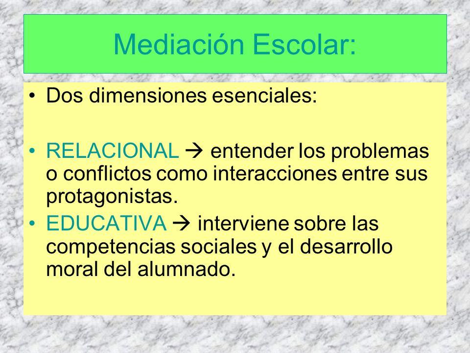 Mediación Escolar: Dos dimensiones esenciales: RELACIONAL entender los problemas o conflictos como interacciones entre sus protagonistas. EDUCATIVA in