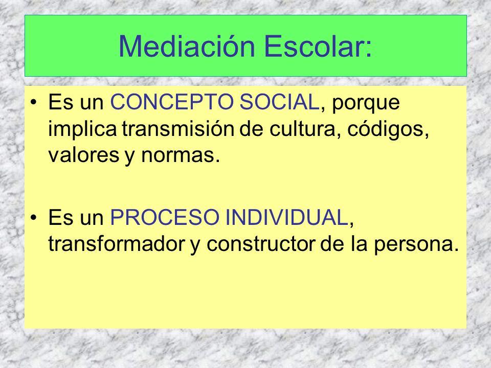 Mediación Escolar: Es un CONCEPTO SOCIAL, porque implica transmisión de cultura, códigos, valores y normas. Es un PROCESO INDIVIDUAL, transformador y