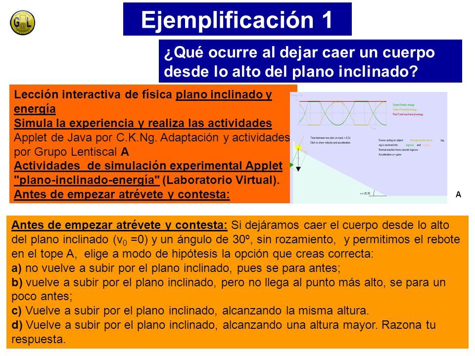 Ejemplificación 1 Lección interactiva de física plano inclinado y energía Simula la experiencia y realiza las actividades Applet de Java por C.K.Ng.