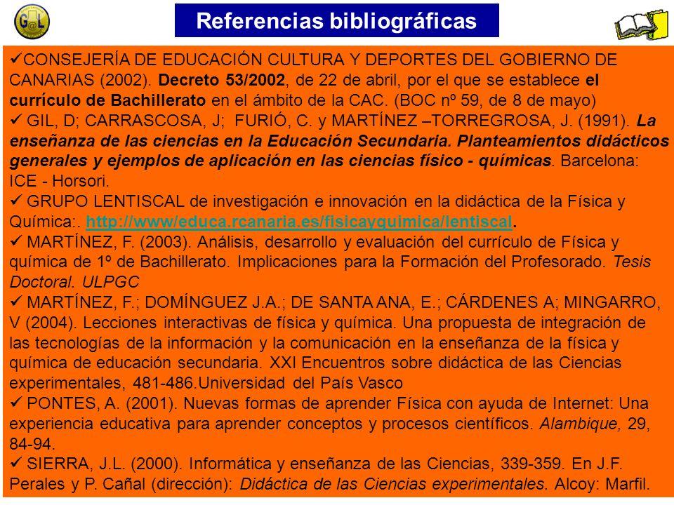 Referencias bibliográficas CONSEJERÍA DE EDUCACIÓN CULTURA Y DEPORTES DEL GOBIERNO DE CANARIAS (2002).