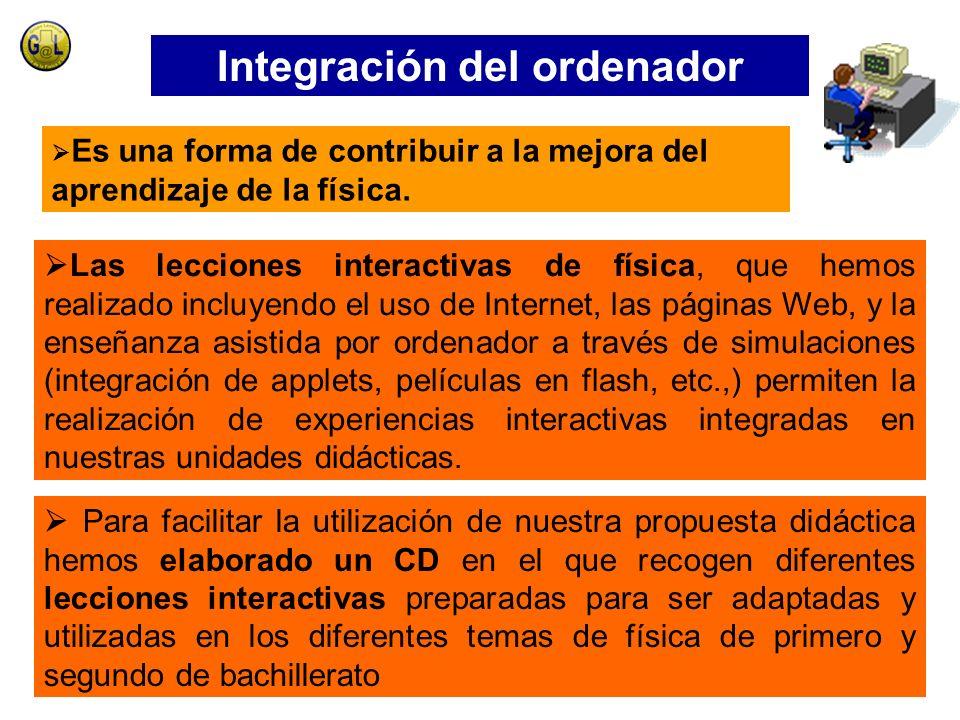 Las lecciones interactivas de física, que hemos realizado incluyendo el uso de Internet, las páginas Web, y la enseñanza asistida por ordenador a través de simulaciones (integración de applets, películas en flash, etc.,) permiten la realización de experiencias interactivas integradas en nuestras unidades didácticas.