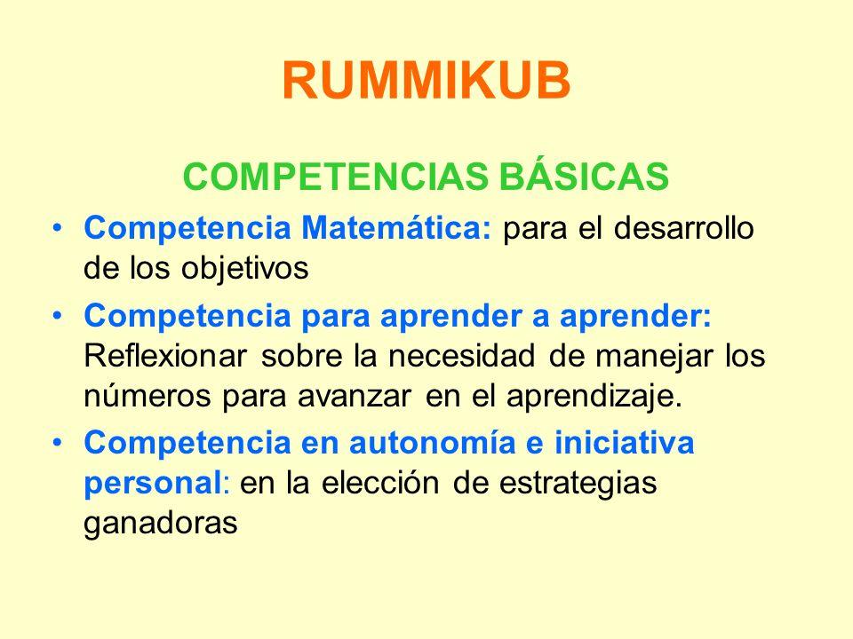 RUMMIKUB COMPETENCIAS BÁSICAS Competencia Matemática: para el desarrollo de los objetivos Competencia para aprender a aprender: Reflexionar sobre la n