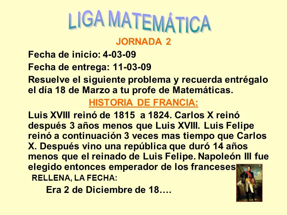JORNADA 2 Fecha de inicio: 4-03-09 Fecha de entrega: 11-03-09 Resuelve el siguiente problema y recuerda entrégalo el día 18 de Marzo a tu profe de Mat