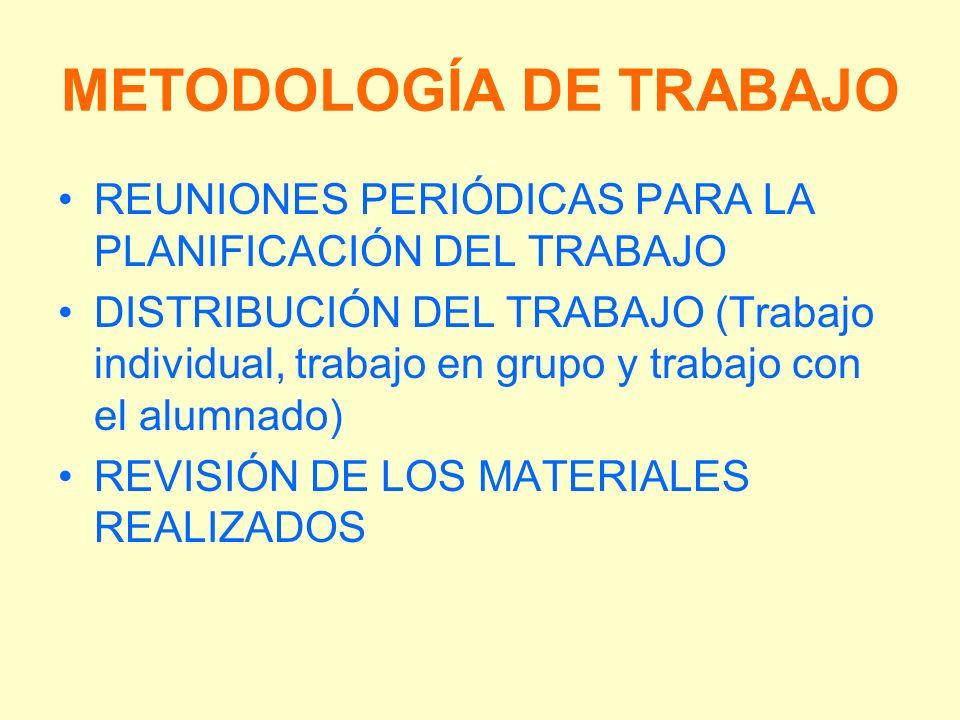 METODOLOGÍA DE TRABAJO REUNIONES PERIÓDICAS PARA LA PLANIFICACIÓN DEL TRABAJO DISTRIBUCIÓN DEL TRABAJO (Trabajo individual, trabajo en grupo y trabajo