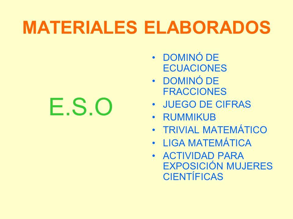 MATERIALES ELABORADOS E.S.O DOMINÓ DE ECUACIONES DOMINÓ DE FRACCIONES JUEGO DE CIFRAS RUMMIKUB TRIVIAL MATEMÁTICO LIGA MATEMÁTICA ACTIVIDAD PARA EXPOS