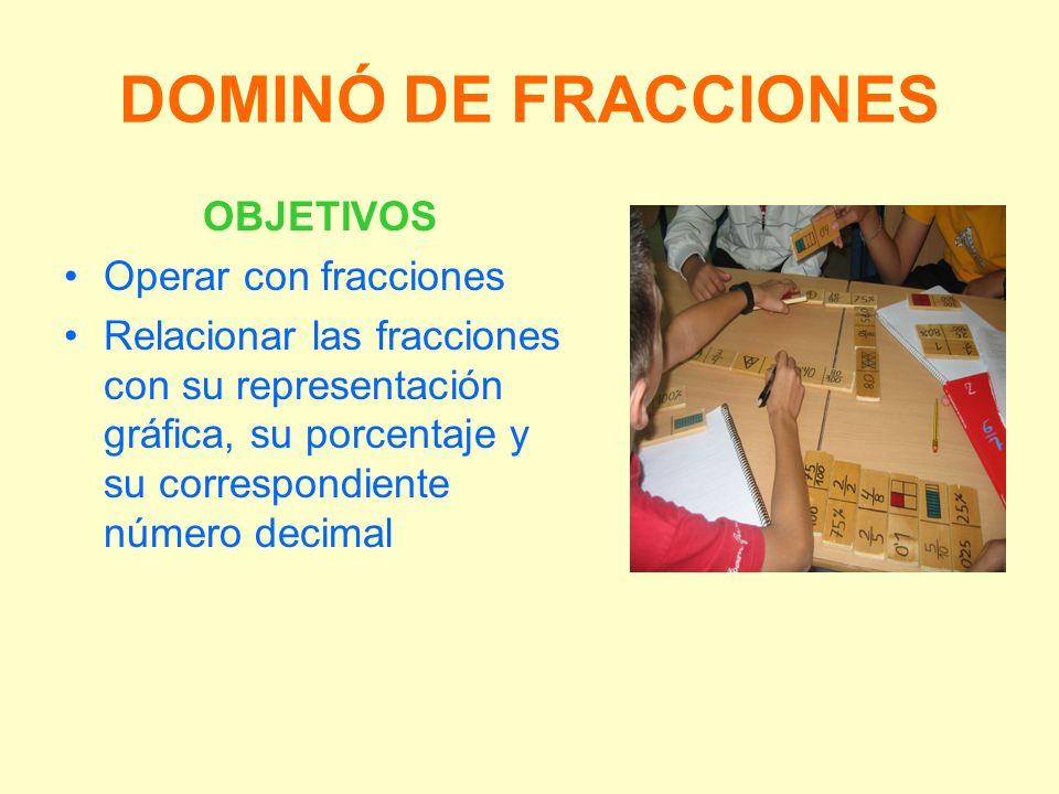 DOMINÓ DE FRACCIONES OBJETIVOS Operar con fracciones Relacionar las fracciones con su representación gráfica, su porcentaje y su correspondiente númer