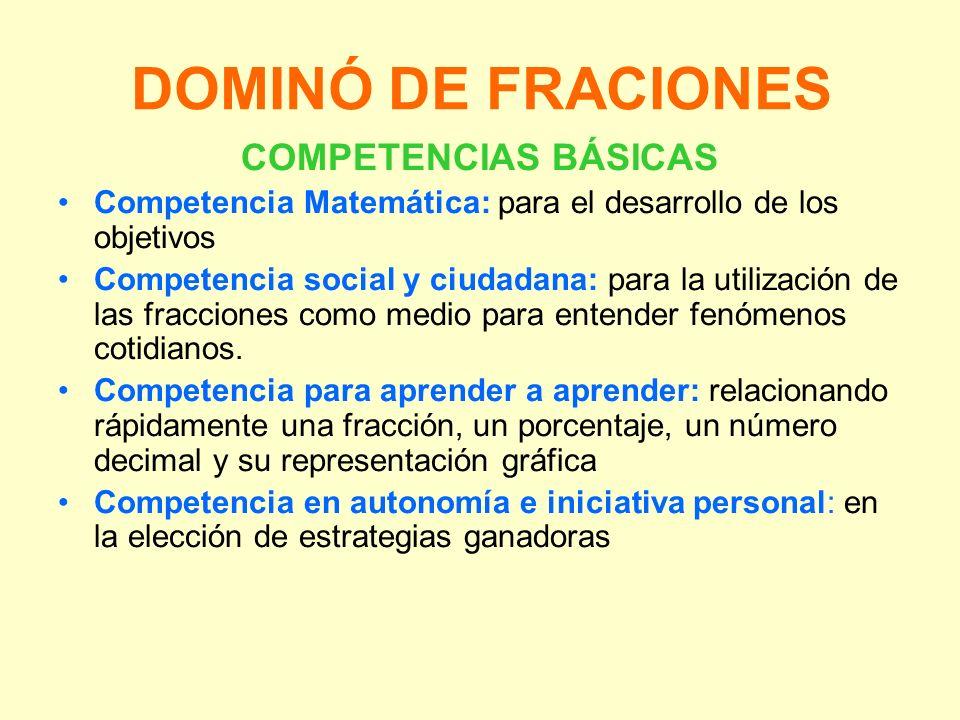 DOMINÓ DE FRACIONES COMPETENCIAS BÁSICAS Competencia Matemática: para el desarrollo de los objetivos Competencia social y ciudadana: para la utilizaci