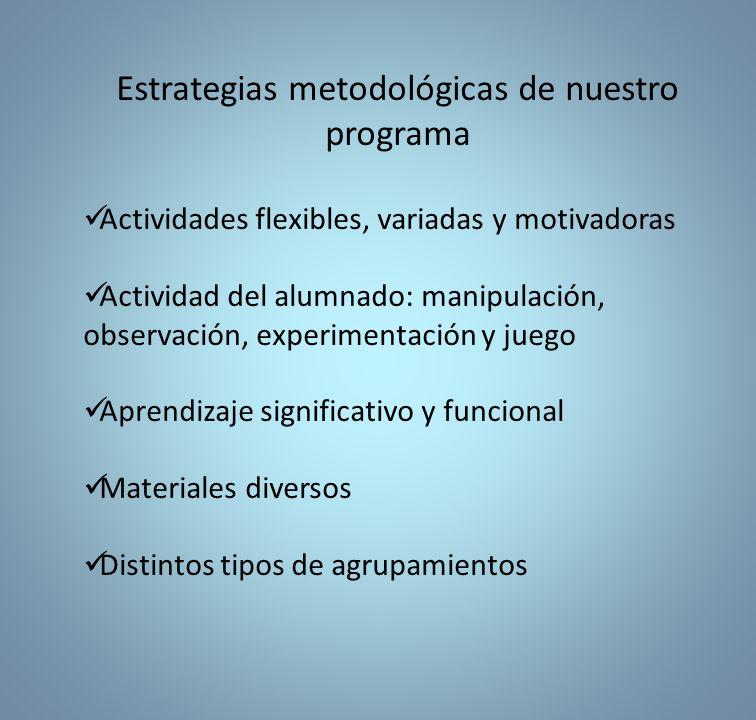 Estrategias metodológicas de nuestro programa Actividades flexibles, variadas y motivadoras Actividad del alumnado: manipulación, observación, experimentación y juego Aprendizaje significativo y funcional Materiales diversos Distintos tipos de agrupamientos