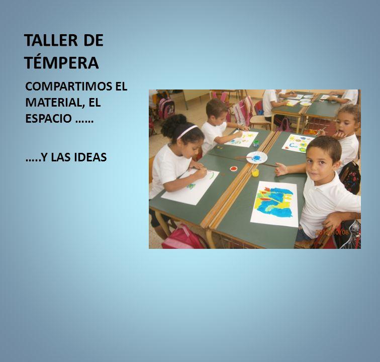 TALLER DE TÉMPERA COMPARTIMOS EL MATERIAL, EL ESPACIO …… …..Y LAS IDEAS