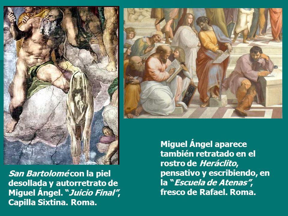 San Bartolomé con la piel desollada y autorretrato de Miguel Ángel. Juicio Final, Capilla Sixtina. Roma. Miguel Ángel aparece también retratado en el