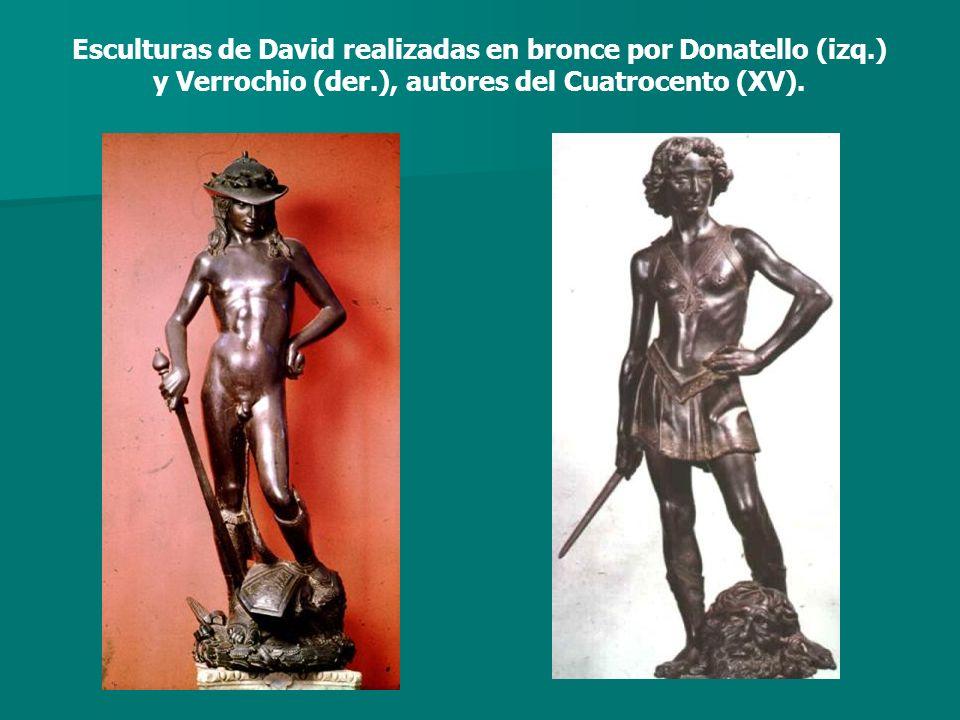 Esculturas de David realizadas en bronce por Donatello (izq.) y Verrochio (der.), autores del Cuatrocento (XV).