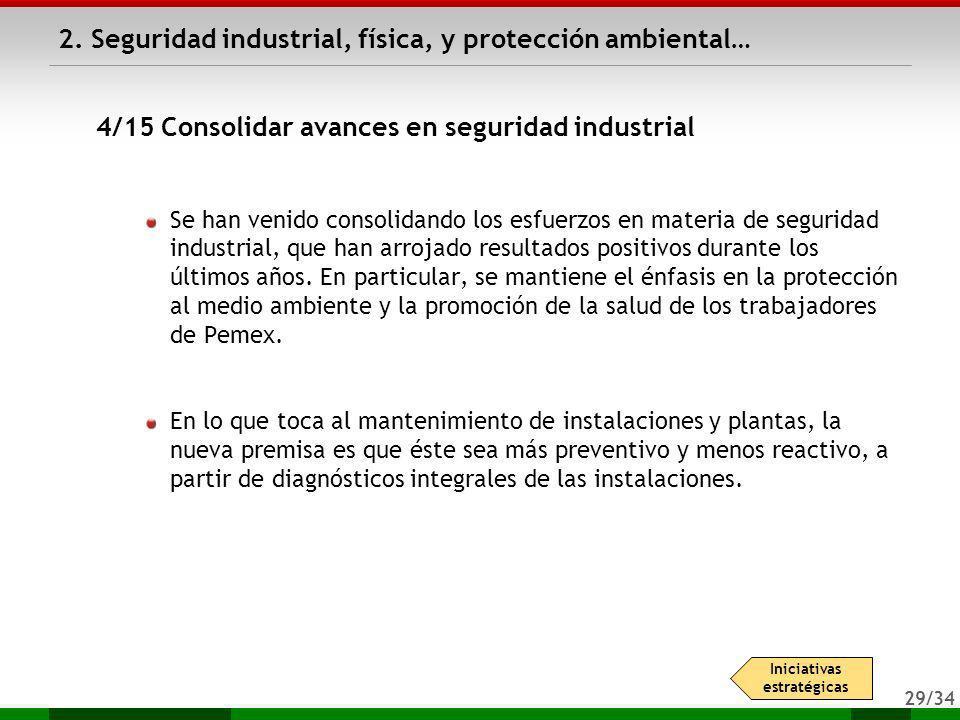 29/34 Se han venido consolidando los esfuerzos en materia de seguridad industrial, que han arrojado resultados positivos durante los últimos años. En