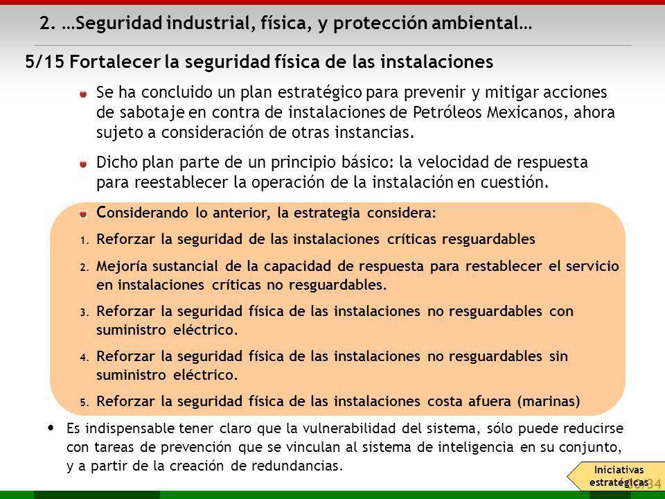 30/34 Se ha concluido un plan estratégico para prevenir y mitigar acciones de sabotaje en contra de instalaciones de Petróleos Mexicanos, ahora sujeto