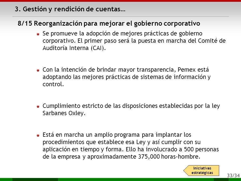 33/34 3. Gestión y rendición de cuentas… Se promueve la adopción de mejores prácticas de gobierno corporativo. El primer paso será la puesta en marcha