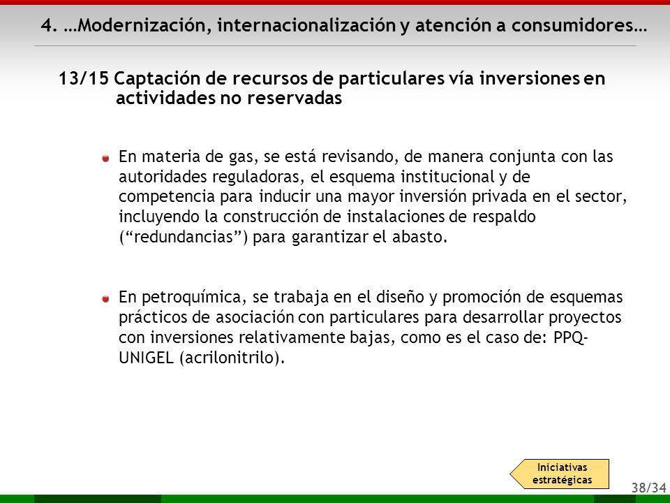 38/34 4. …Modernización, internacionalización y atención a consumidores… En materia de gas, se está revisando, de manera conjunta con las autoridades