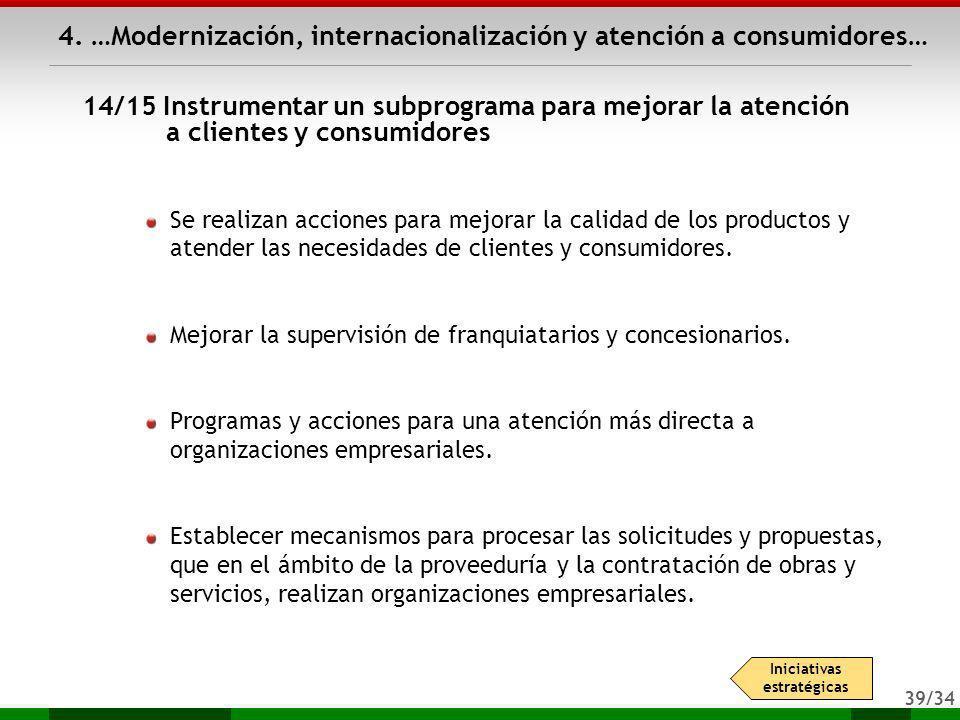 39/34 4. …Modernización, internacionalización y atención a consumidores… Se realizan acciones para mejorar la calidad de los productos y atender las n