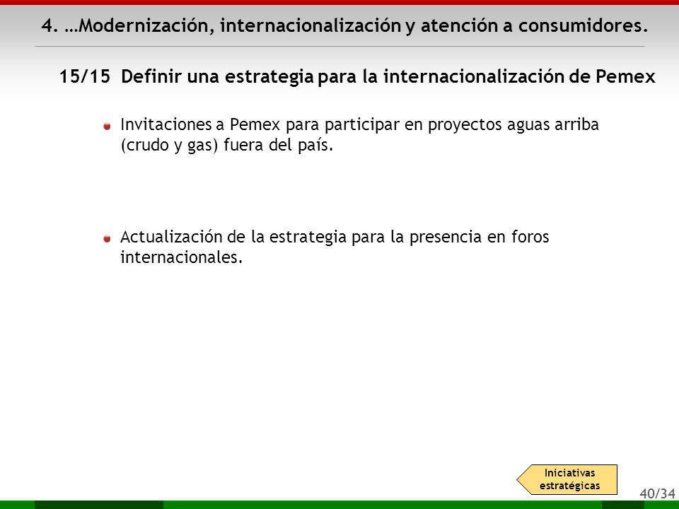 40/34 4. …Modernización, internacionalización y atención a consumidores. Invitaciones a Pemex para participar en proyectos aguas arriba (crudo y gas)
