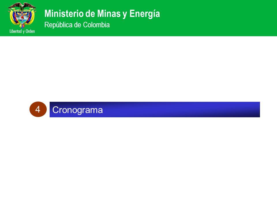 Ministerio de Minas y Energía República de Colombia Cronograma 4