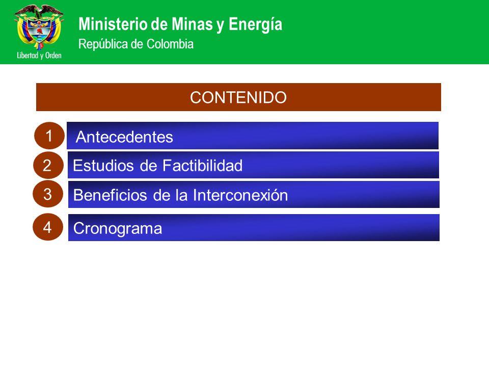 Ministerio de Minas y Energía República de Colombia Distribución de los beneficios por reducción de Costos Marginales Beneficio por reducción de CMg (Millones USD) Total Beneficio 104 MUSD-año Total Beneficio 163 MUSD-año A- Escenario Optimista de Expansión en el MER B- Escenario Realista de Expansión en el MER