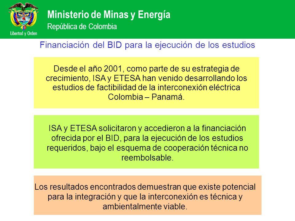 Ministerio de Minas y Energía República de Colombia Financiación del BID para la ejecución de los estudios Desde el año 2001, como parte de su estrate