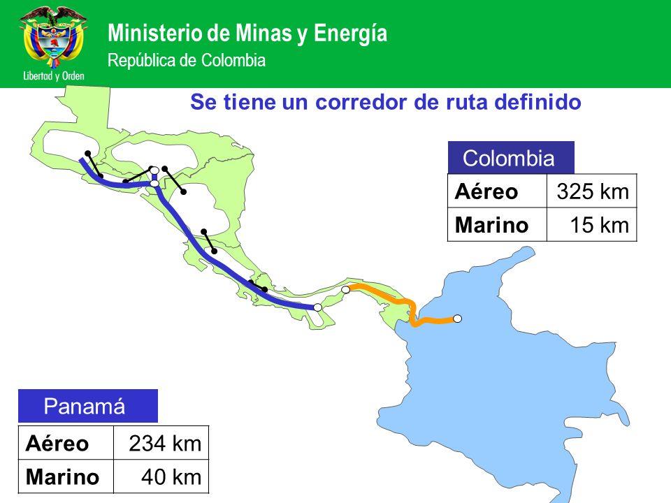 Ministerio de Minas y Energía República de Colombia Características de la interconexión –Línea de transmisión en corriente directa (HVDC) –Voltaje entre 250 y 400 kV –Capacidad de 300 MW con posibilidad de ampliación –Longitud de 614 km (340 Colombia + 274 Panamá) El análisis eléctrico concluyó que es viable técnicamente ConceptoCosto estimado Rango Comercial Línea en corriente directa 120.000 USD/km 90.000 – 130.000 USD/km Relación de costos (cable / línea) 6,255 a 10 Estaciones conversoras275 USD/kW200 – 280 USD/kW