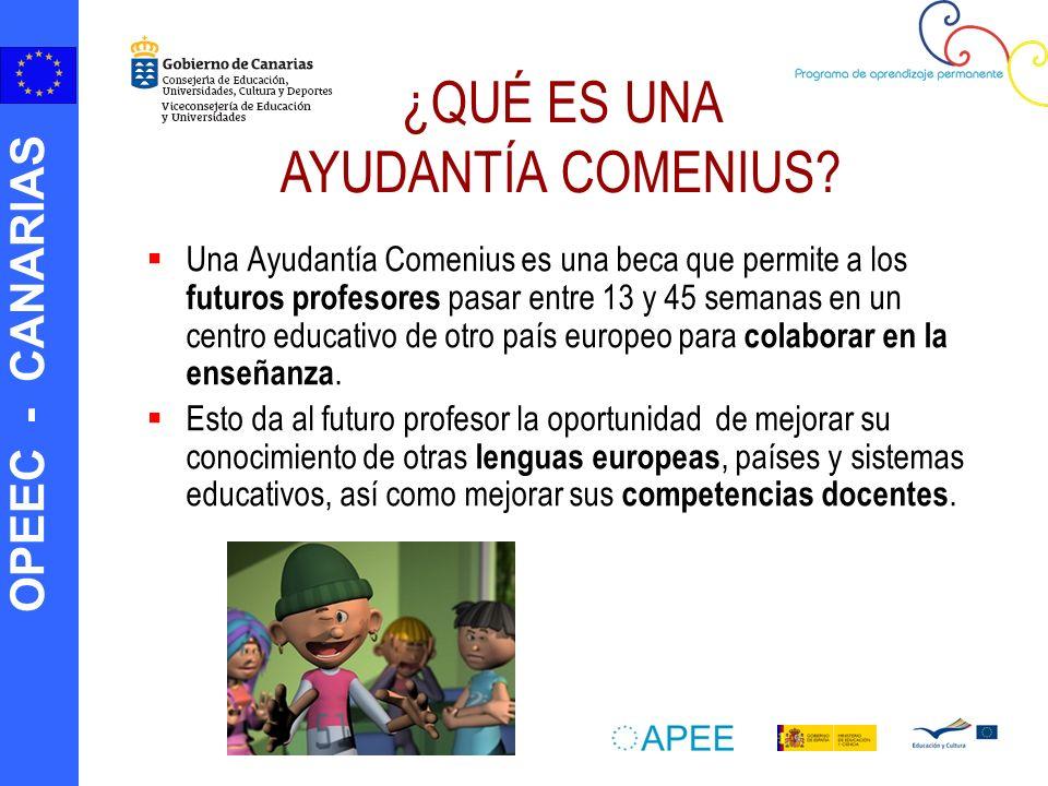 OPEEC - CANARIAS Una Ayudantía Comenius es una beca que permite a los futuros profesores pasar entre 13 y 45 semanas en un centro educativo de otro país europeo para colaborar en la enseñanza.