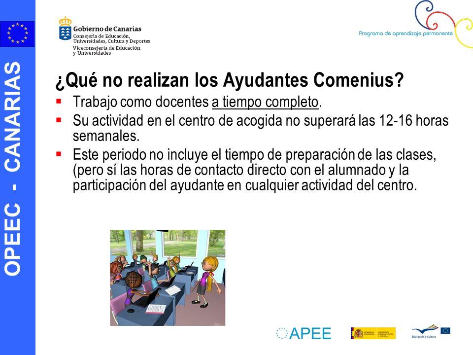 OPEEC - CANARIAS ¿Qué no realizan los Ayudantes Comenius.