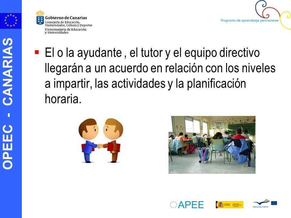 OPEEC - CANARIAS El o la ayudante, el tutor y el equipo directivo llegarán a un acuerdo en relación con los niveles a impartir, las actividades y la planificación horaria.