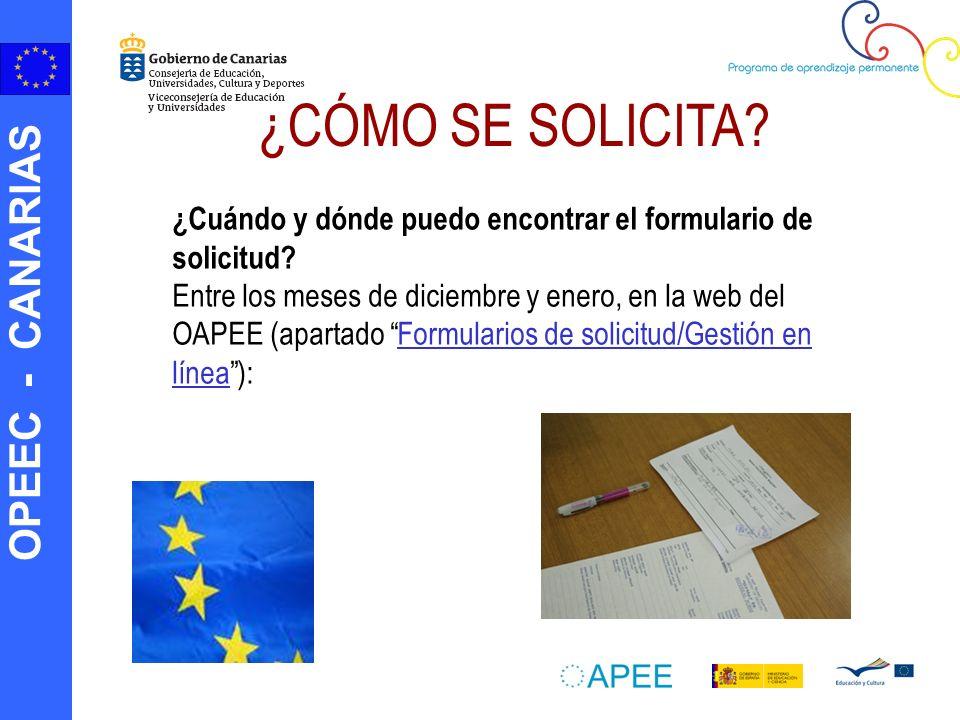 OPEEC - CANARIAS ¿Cuándo y dónde puedo encontrar el formulario de solicitud.