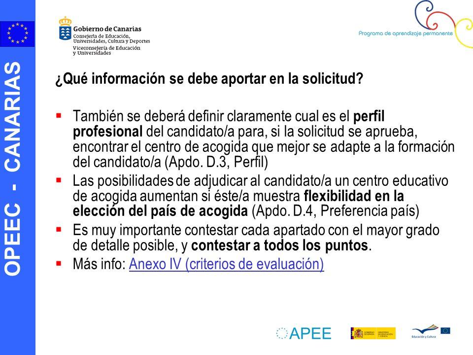 OPEEC - CANARIAS ¿Qué información se debe aportar en la solicitud.