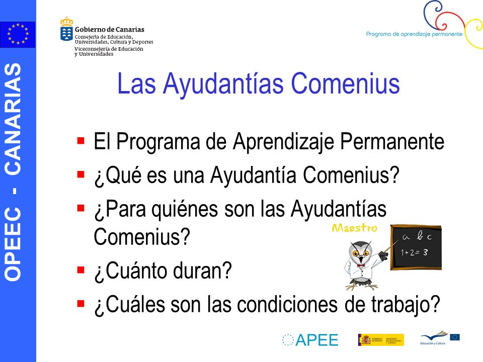 OPEEC - CANARIAS Las Ayudantías Comenius El Programa de Aprendizaje Permanente ¿Qué es una Ayudantía Comenius.