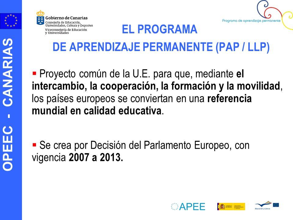 OPEEC - CANARIAS EL PROGRAMA DE APRENDIZAJE PERMANENTE (PAP / LLP) Proyecto común de la U.E.