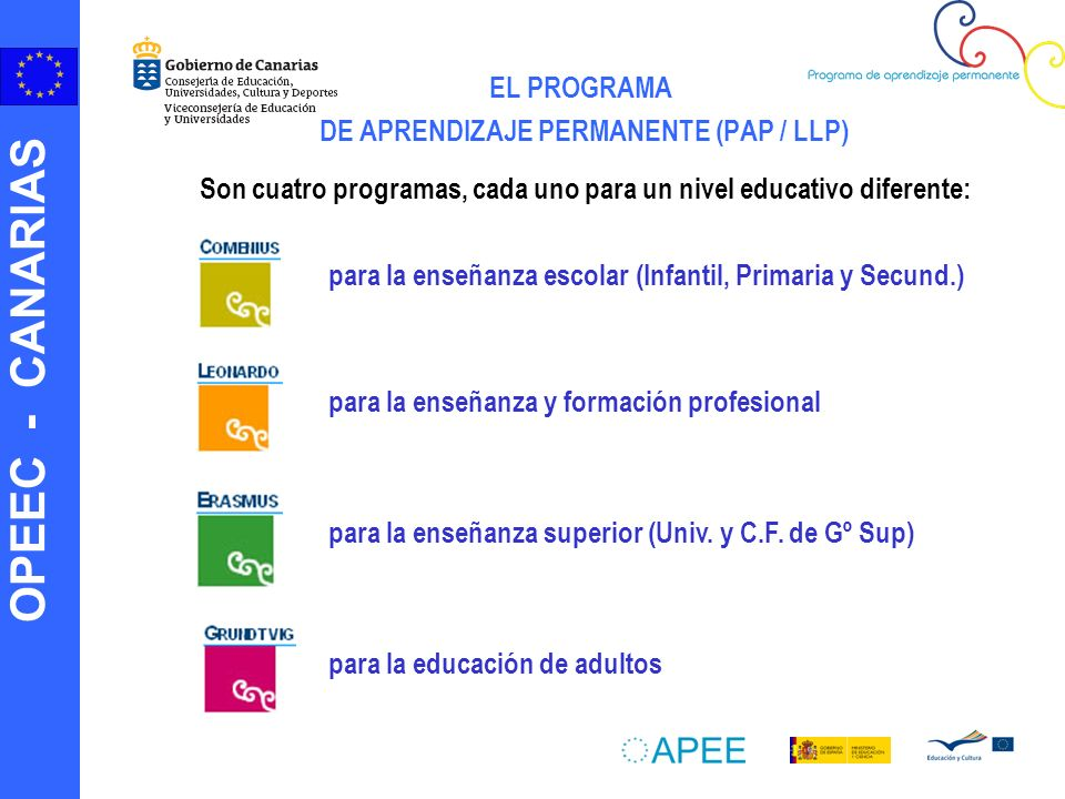 OPEEC - CANARIAS EL PROGRAMA DE APRENDIZAJE PERMANENTE (PAP / LLP) para la enseñanza escolar (Infantil, Primaria y Secund.) para la enseñanza y formación profesional para la enseñanza superior (Univ.