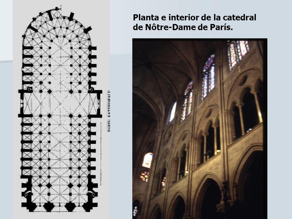Planta e interior de la catedral de Nôtre-Dame de París.