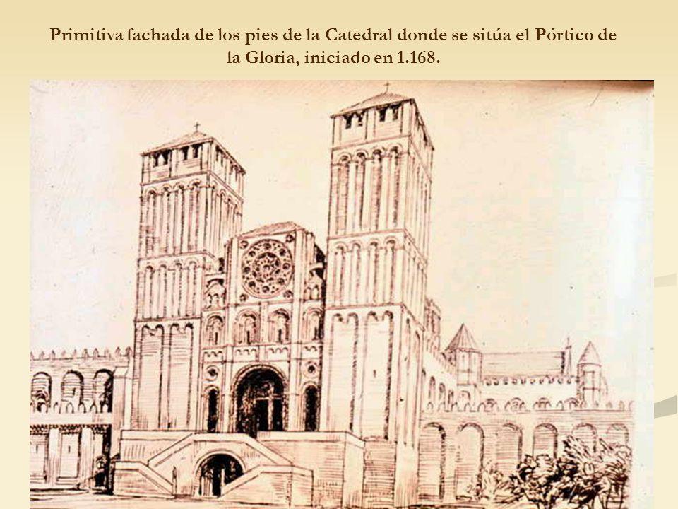 Primitiva fachada de los pies de la Catedral donde se sitúa el Pórtico de la Gloria, iniciado en 1.168.