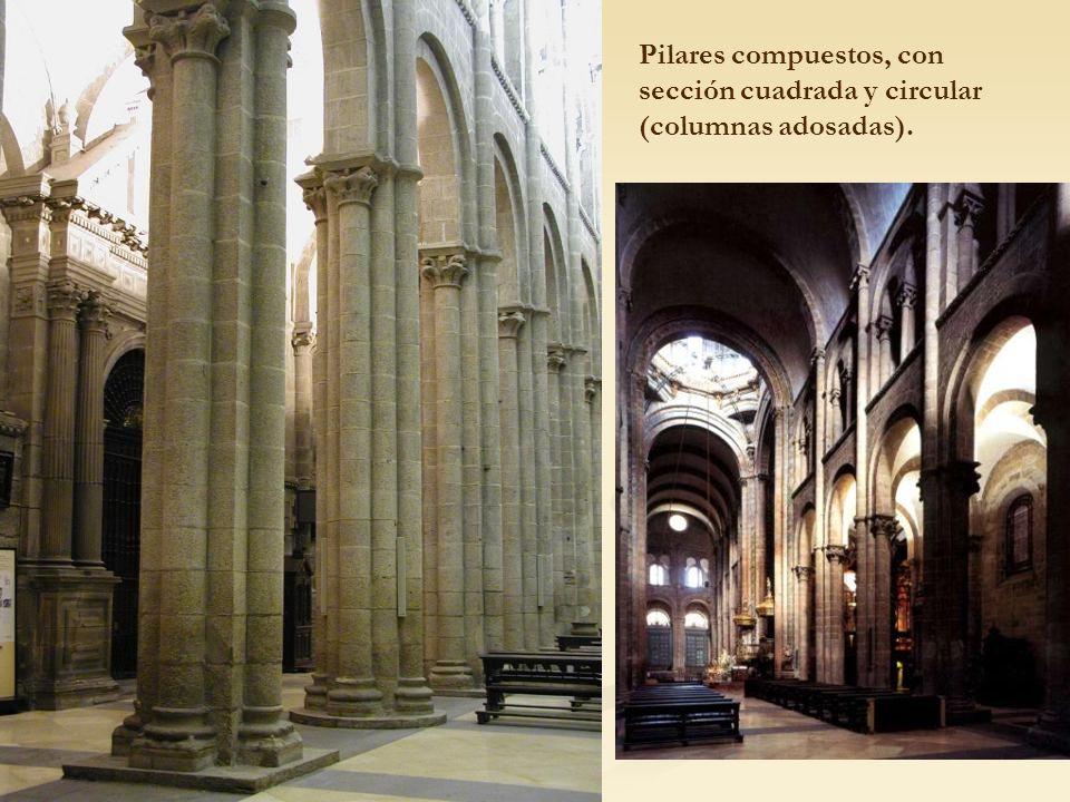Pilares compuestos, con sección cuadrada y circular (columnas adosadas).