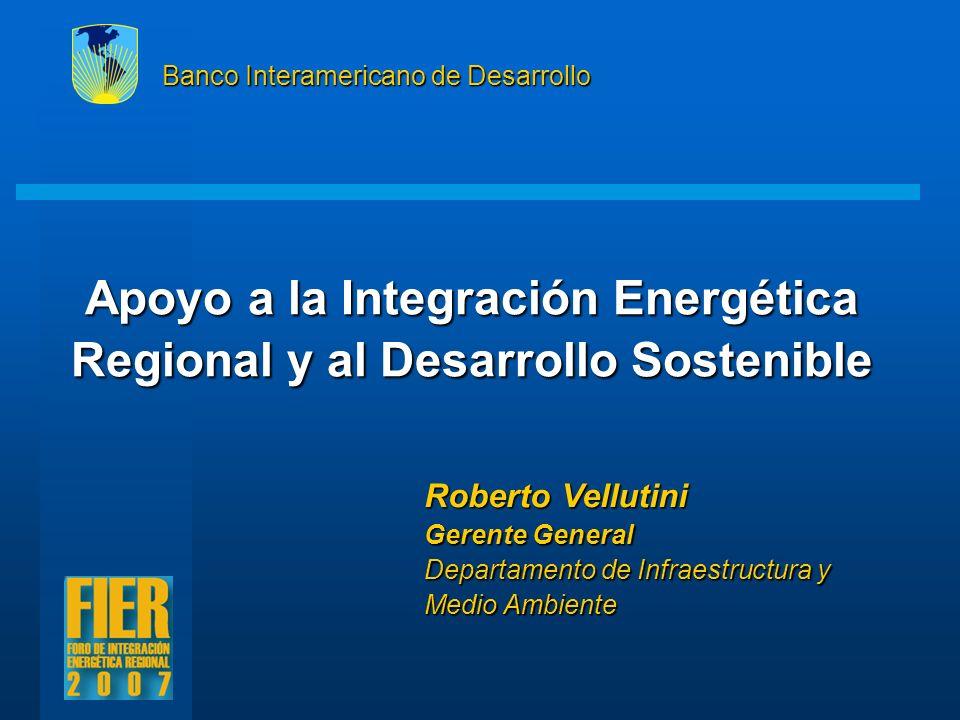 Apoyo a la Integración Energética Regional y al Desarrollo Sostenible Banco Interamericano de Desarrollo Roberto Vellutini Gerente General Departament