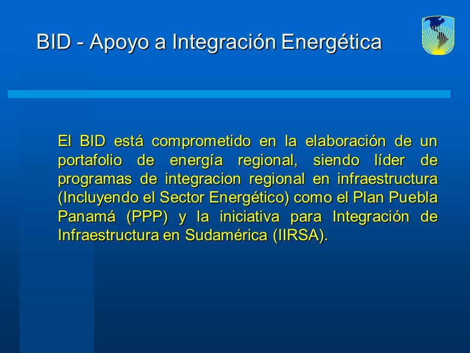 BID - Apoyo a Integración Energética El BID está comprometido en la elaboración de un portafolio de energía regional, siendo líder de programas de int
