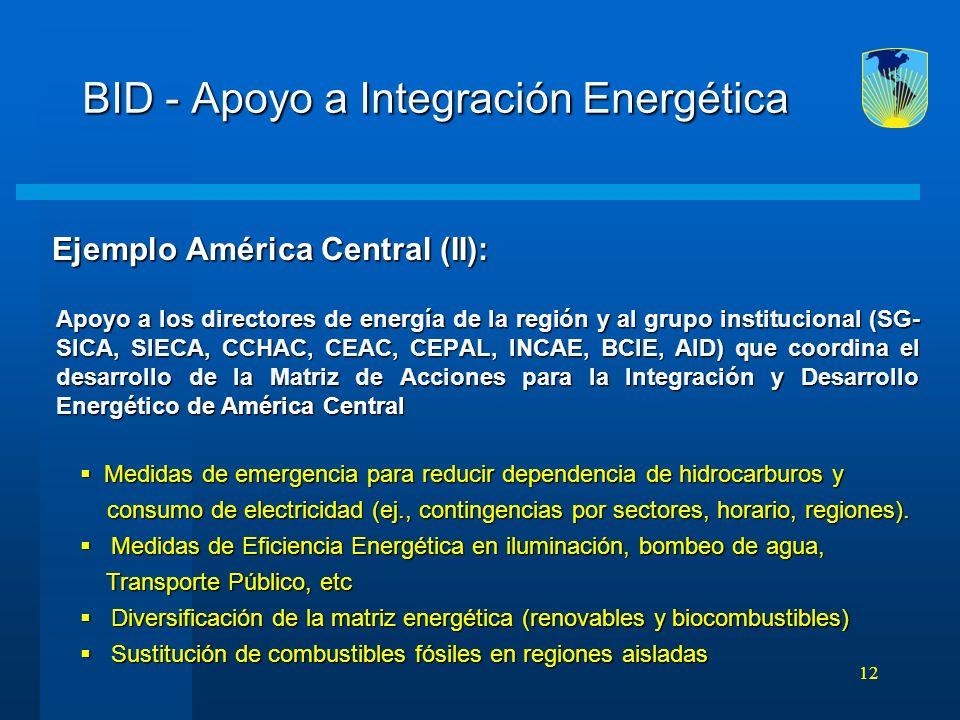 12 BID - Apoyo a Integración Energética Ejemplo América Central (II): Ejemplo América Central (II): Apoyo a los directores de energía de la región y a
