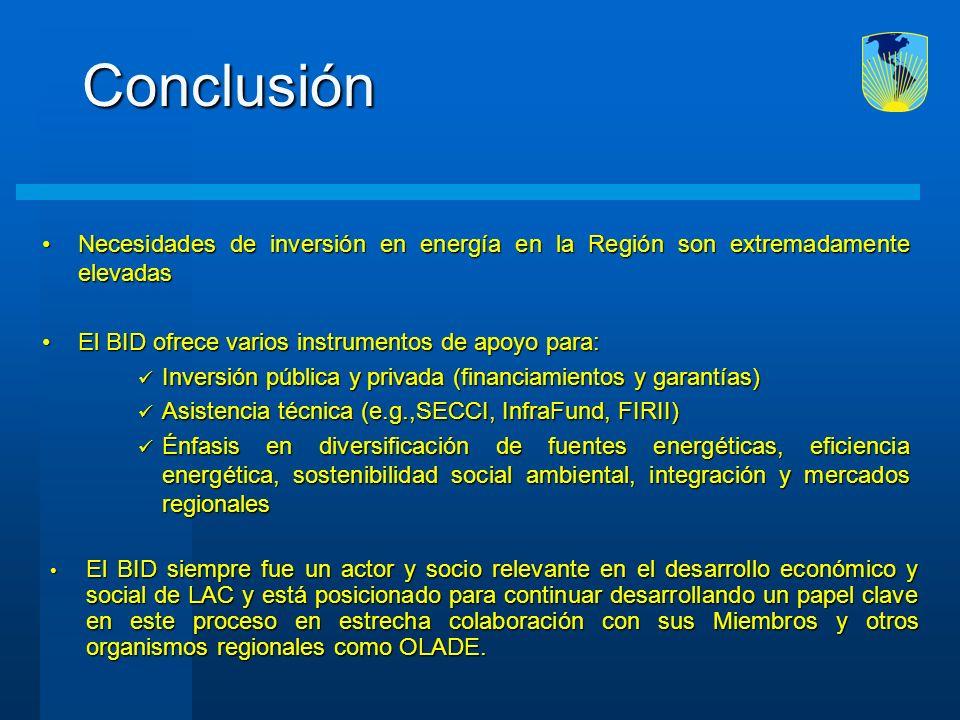 Necesidades de inversión en energía en la Región son extremadamente elevadasNecesidades de inversión en energía en la Región son extremadamente elevad