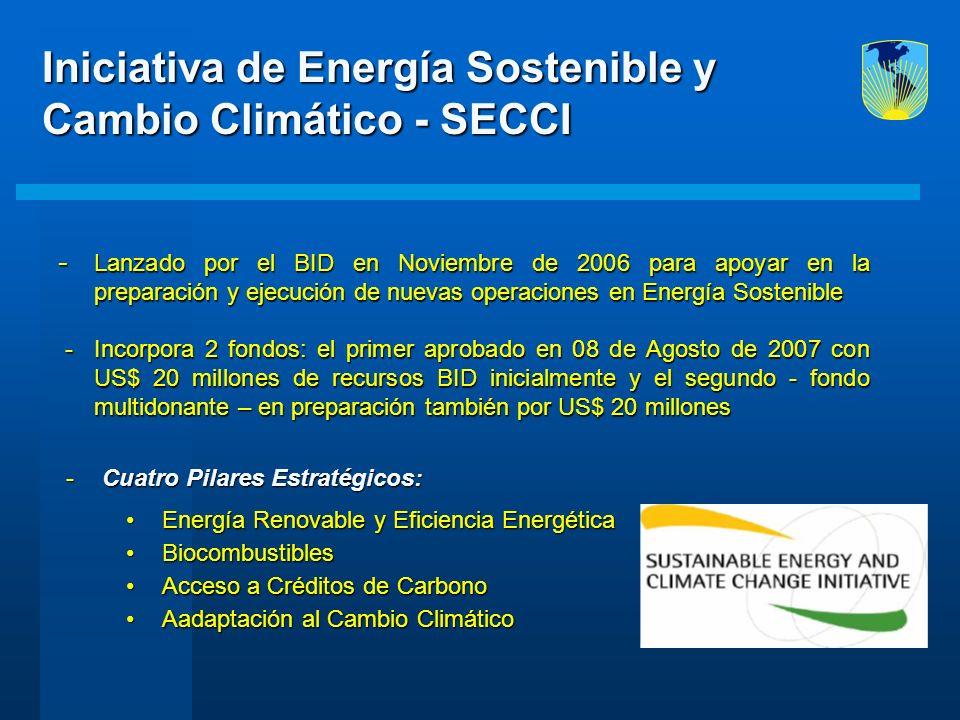  Lanzado por el BID en Noviembre de 2006 para apoyar en la preparación y ejecución de nuevas operaciones en Energía Sostenible - Incorpora 2 fondos: