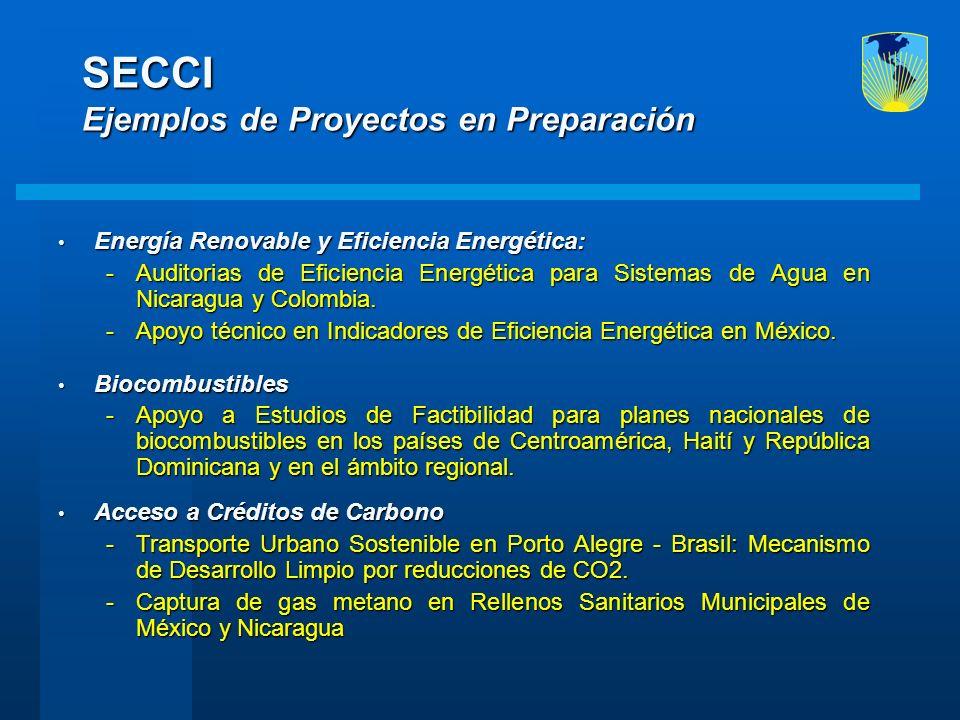 SECCI Ejemplos de Proyectos en Preparación Energía Renovable y Eficiencia Energética: Energía Renovable y Eficiencia Energética: -Auditorias de Eficie