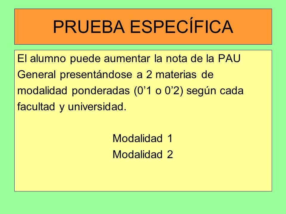 PRUEBA ESPECÍFICA El alumno puede aumentar la nota de la PAU General presentándose a 2 materias de modalidad ponderadas (01 o 02) según cada facultad
