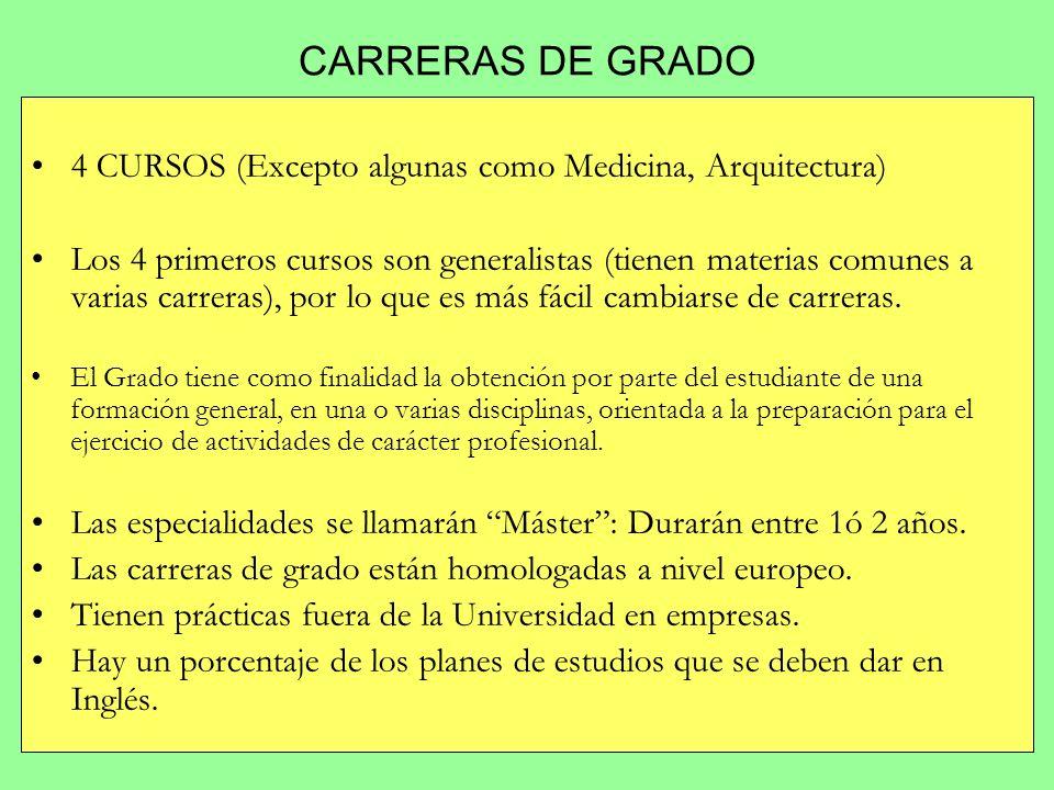 CARRERAS DE GRADO 4 CURSOS (Excepto algunas como Medicina, Arquitectura) Los 4 primeros cursos son generalistas (tienen materias comunes a varias carr