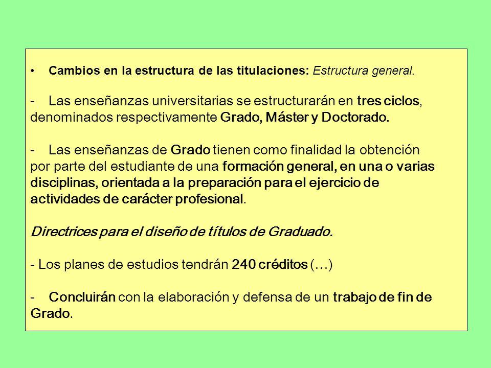 Cambios en la estructura de las titulaciones: Estructura general. -Las enseñanzas universitarias se estructurarán en tres ciclos, denominados respecti